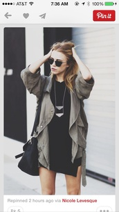 jacket,jewels,dress,bag,green jacket,sunglasses,coat,edgy,army green jacket,spring jacket,necklae,leather bag,necklace,black dress,outfit,layered,hipster,olive green,long,cargo pants,army green,rain coat,a black shirt sleeved dresss,winter outfits,fall outfits,green,fall jacket,winter jacket,winter coat,winter sweater,baggy sweaters,baggy shirt,top,black,short dress,pretty,style,cute,cute dress