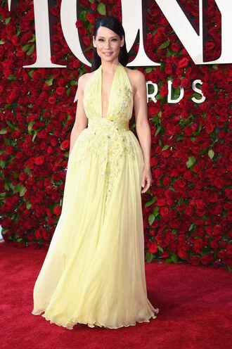 dress gown prom dress wedding dress bridesmaid lucy liu tony awards yellow dress long prom dress
