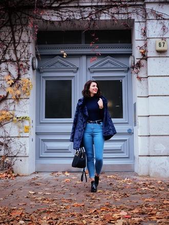 samieze blogger coat shirt jeans shoes bag fur coat skinny jeans handbag black turtleneck top