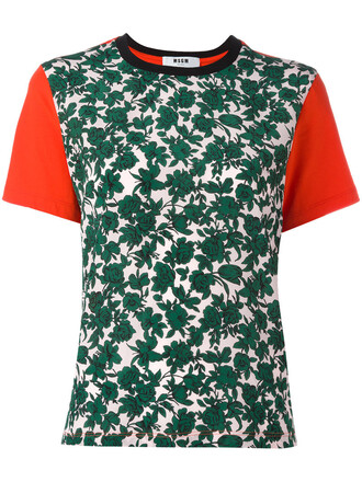 t-shirt shirt women cotton print green leaves top