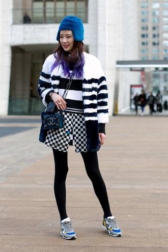 coat black white stripes irene kim faux fur skirt pattern blue