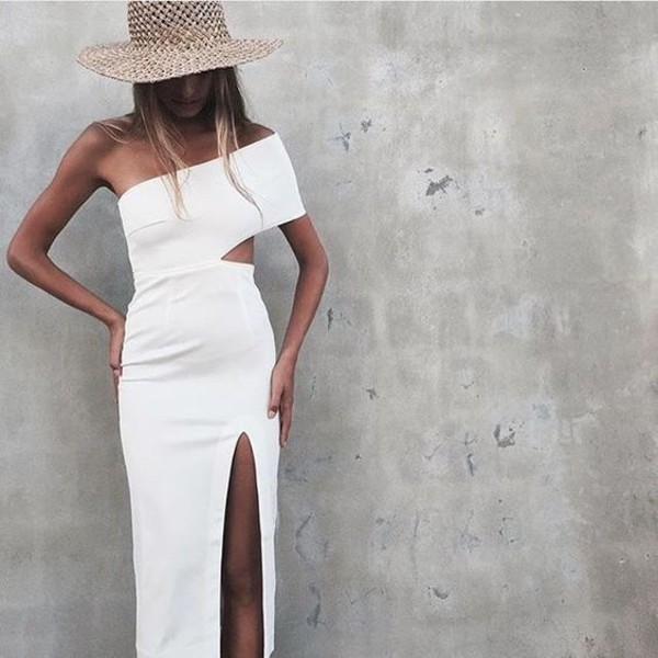 dress one shoulder white white dress bodycon bodycon dress midi midi dress slit dress off the shoulder off the shoulder dress party dress sexy party dresses sexy sexy dress party outfits sexy outfit summer dress summer outfits spring dress spring outfits classy dress elegant dress cocktail dress new year's eve cute dress girly dress date outfit birthday dress clubwear club dress graduation dress homecoming homecoming dress wedding dress wedding clothes wedding guest engagement party dress prom dress short prom dress romantic dress dope tumblr outfit