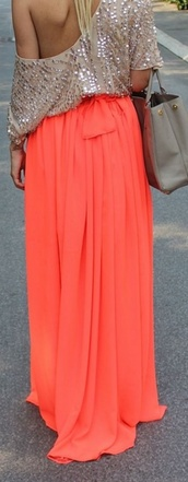 skirt,bright coral,coral,maxi skirt,coral maxi,off the shoulder,sparkly shirt,dress