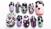 nail polish,creepy,goth,pastel pink,black,bats,creepy kawaii,kawaii,pastel,pastel goth,eye balls,make-up,nails,fake nails,gel nails,false nails,dark,wierd,tumblr,pinterest