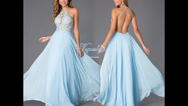 dress blue long ball dress