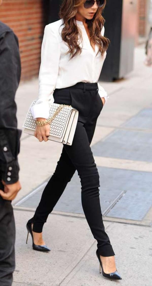 jeans black victoria beckham pants high waisted heels white shirt blouse clutch bag brown hair sunglasses