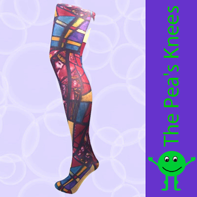 Church stained glass window print tights pamela mann uk