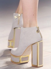 shoes,high heels,nude,pumps,extraordinary,haute couture,closed toe,gold lined,chunky heels,white,gold,white high heels,platform shoes,platform high heels,gold and white,suede,trim,heels,boots,thick heel