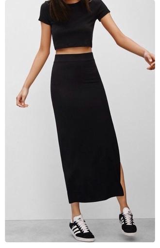 skirt black sneakers black skirt slit skirt minimalist all black everything black crop top cropped t-shirt two piece dress set set asos black adidas bodycon crop tops