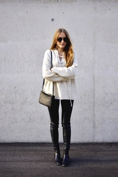 by annna,blogger,leather pants,knitted sweater,lace up,lace up jumper,bag,black,pants,sunglasses,streetwear,black sunglasses,knitwear,mango,rayban,nude sweater,black bag,shoulder bag,black leather pants