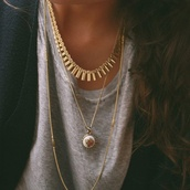 jewels,necklace,gold,jewelry,gold spikes,gold necklace,gold spiked necklace,charm,white,charm necklace,golden jewels,blouse,grey blouse,layered necklaces