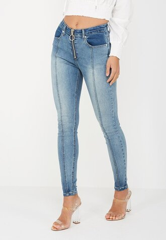 jeans denim blue zipped jeans