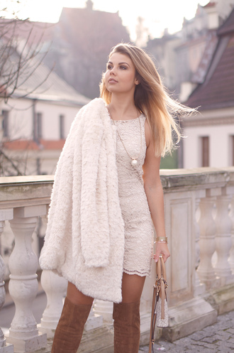 a piece of anna blogger lace dress white lace white lace dress fuzzy coat white coat knee high boots jacket