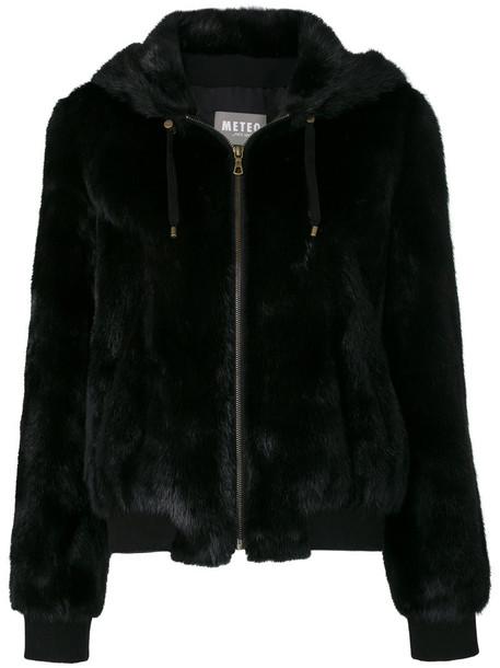 Meteo by Yves Salomon jacket hooded jacket fur women cotton black