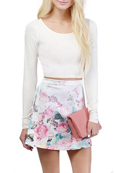 Tie back long sleeve crop tee with cutout detail
