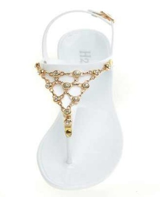 shoes white shoes gold chain sandals gold shoes t-strap sandals summer shoes summer sandals jelly sandals