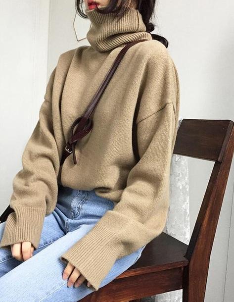 sweater girly jumper turtleneck turtleneck sweater knitwear knit knitted sweater