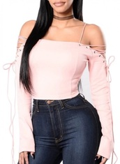 blouse,girly,pink,crop tops,crop,cropped,lace,lace up,long sleeves