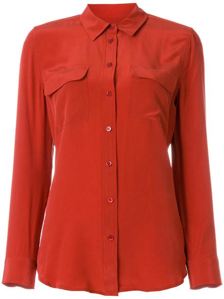 Equipment - chest pocket shirt - women - Silk - M, Red, Silk