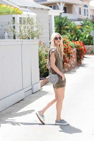 modern ensemble blogger romper shoes bag sunglasses shoulder bag sneakers green romper army green romper summer outfits