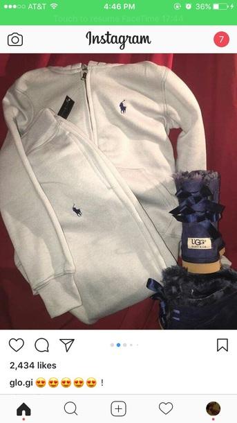 pants grey polo sweatpants blue poloo sign