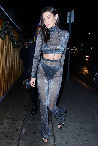 pants top turtleneck bella hadid sandals see through model off-duty