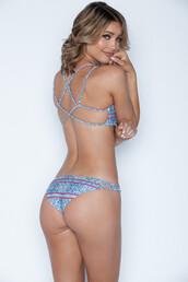 swimwear,frankies bikini,bikini bottoms,blue,braided,brazilian bikini bottom,cheeky bikini,crochet,print,bikiniluxe