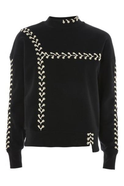 sweatshirt lace black sweater