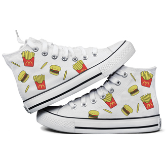 shoes white fries fall outfits casual cute funny fashion style converse mc donalds allstars hamburger teenagers back to school high top sneakers