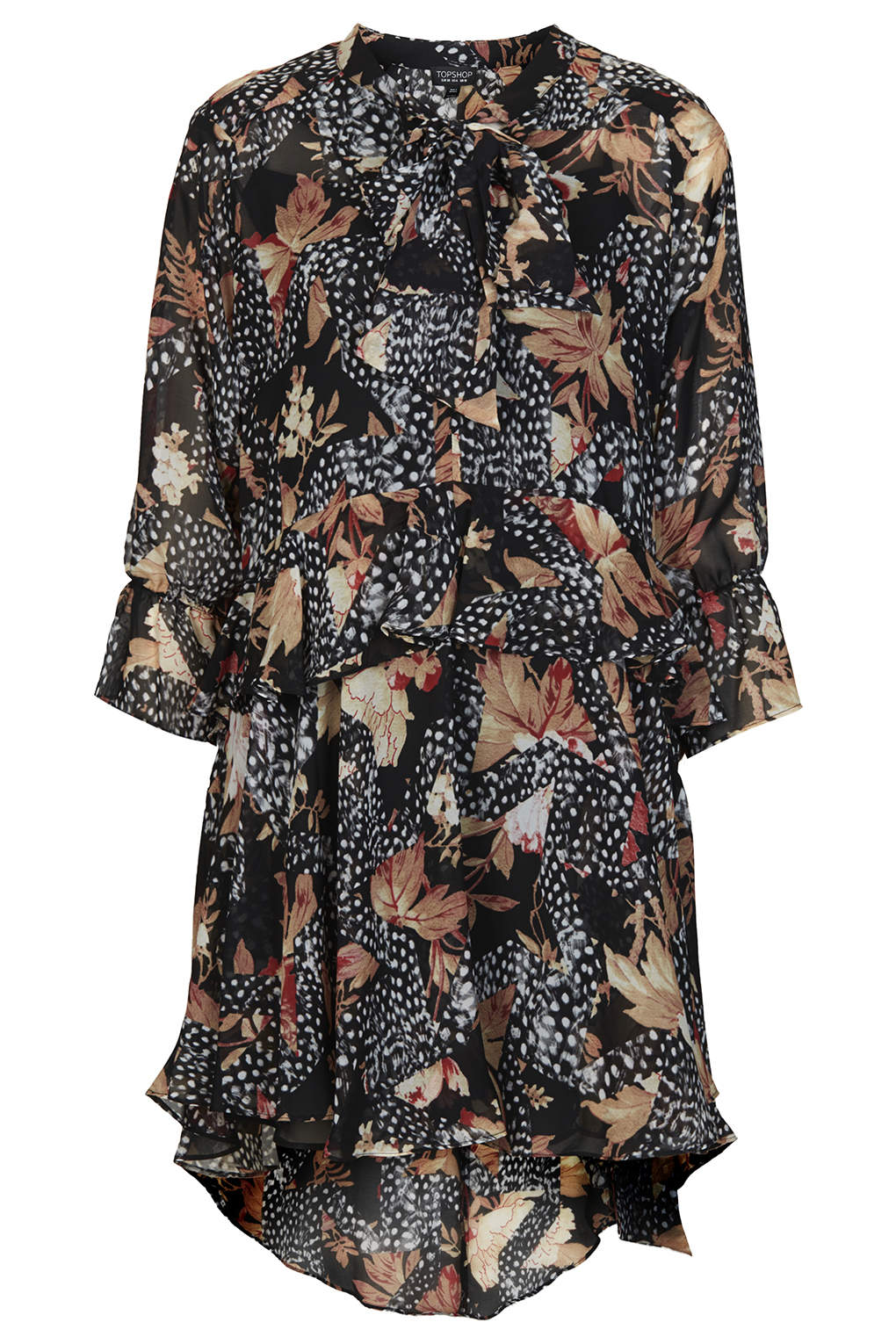 Toile feather print shirt dress