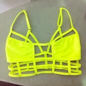 t-shirt,bralette,neon,bag,swimwear,bikini,bikini top,yellow bikini,cut-out,neon yellow,bra,neon bikini,neon green,fashion,top,spring break,summer
