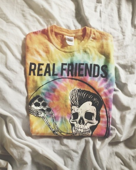 sweater colourful skull grunge pastel blue t-shirt real friends yellow skeleton pizza bones black pink purple orange green psychedelic shirt tie dye hippie real friends band t-shirt bag tyedye