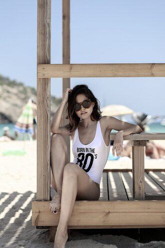 fake leather blogger swimwear top sunglasses shorts bag shoes tumblr one piece swimsuit white swimwear