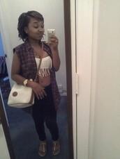 bag,dooney & bourke,cute,chillin,plad shirt,black jeans