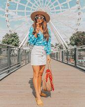 shirt,blue shirt,skirt,hat,sunglassess,shoes