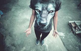 t-shirt wolf mens menswear rock tumblr