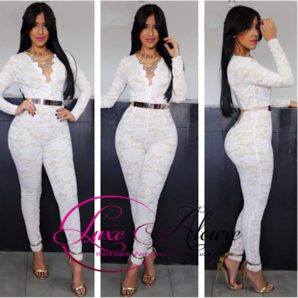 jumpsuit lace ivory celebrity style