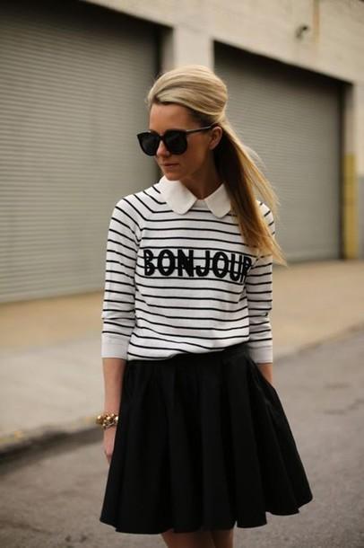 shirt bonjour stripes