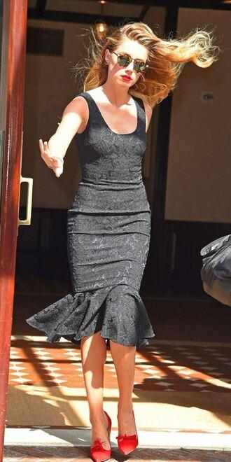 dress black dress midi dress bodycon pumps amber heard lace