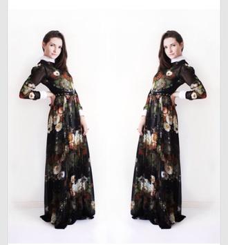 dress black white collar black dress floral dress maxi dress floral maxi dress