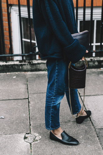 shoes loafers smoking slippers straight jeans oversized sweater fall sweater mini bag chain bag shoulder bag fall outfits jeans tumblr blue jeans denim black shoes black flats flats bag black bag sweater blue sweater oversized