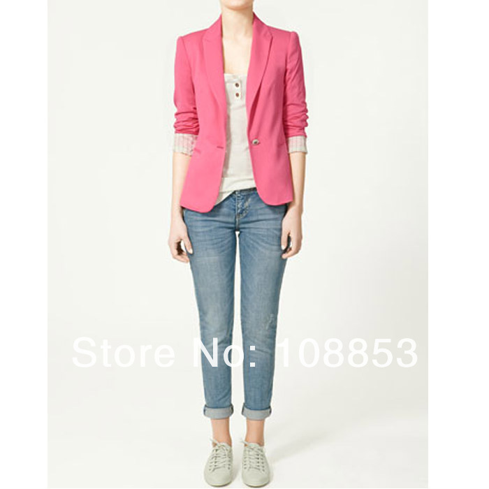 2013 Z New Women's Fashion Top Quality Candy Color Casual One Botton Blazer Slim Lady's Suits Jackets Free Shipping CMO 0033-in Basic Jackets from Apparel & Accessories on Aliexpress.com
