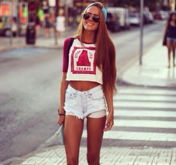 t-shirt shorts sunglasses hat top