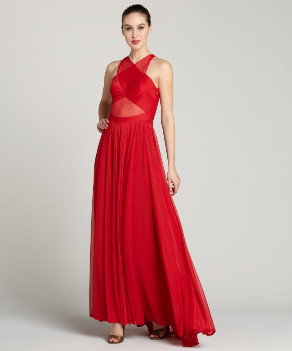 A.B.S. by Allen Schwartz red 'Rihanna' criss cross front sleeveless gown | BLUEFLY up to 70% off designer brands