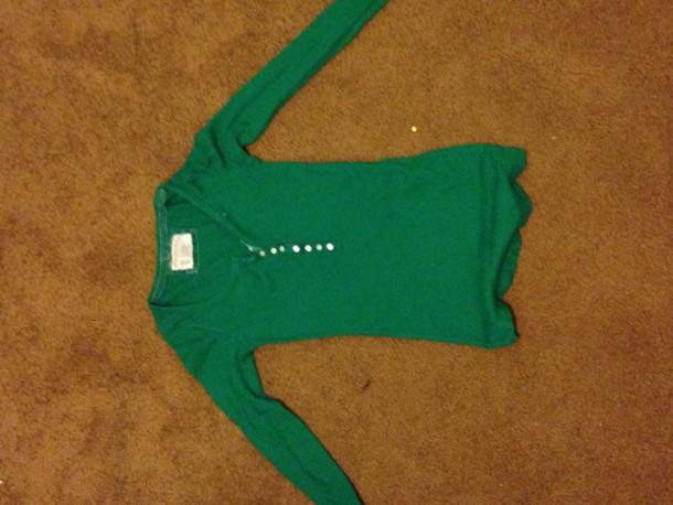 shirt green aeropostale thermal top