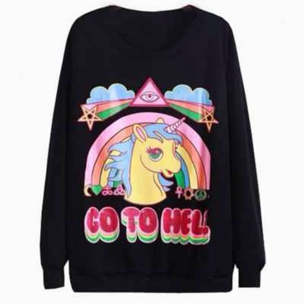 kawaii rad unicorn rainbow ulzzang gyaru soft grunge grunge color/pattern colorful winter outfits fall outfits go to hell clouds