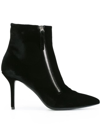 women boots ankle boots leather black velvet shoes