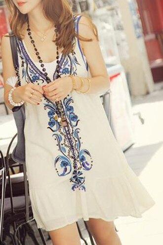 dress boho white summer trendy fashion style blue casual zaful