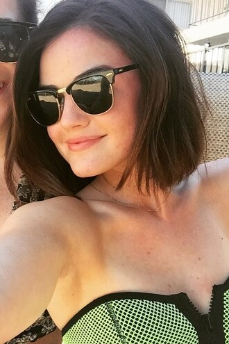 swimwear bikini bikini top lucy hale summer sunglasses instagram