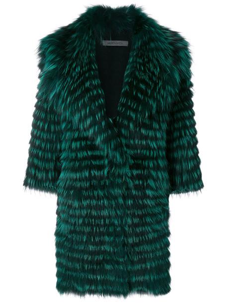 SIMONETTA RAVIZZA coat fur fox women wool green